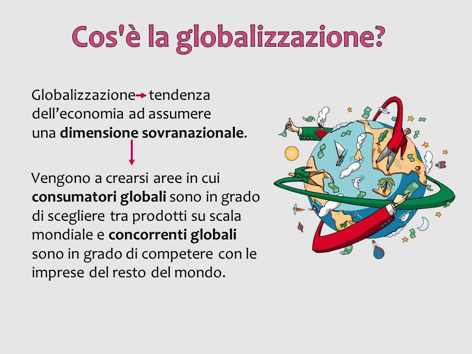 Globalizzazione tendenza dell'economia ad assumere una dimensione sovranazionale. Vengono a crearsi aree in cui consumatori globali sono in grado di s