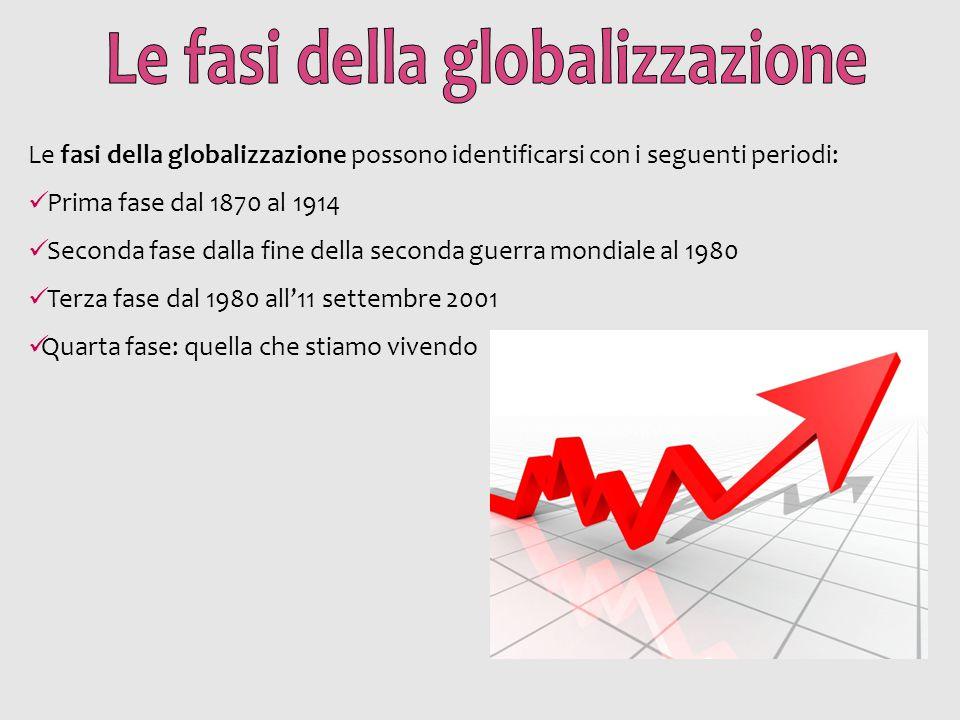 Le fasi della globalizzazione possono identificarsi con i seguenti periodi: Prima fase dal 1870 al 1914 Seconda fase dalla fine della seconda guerra m