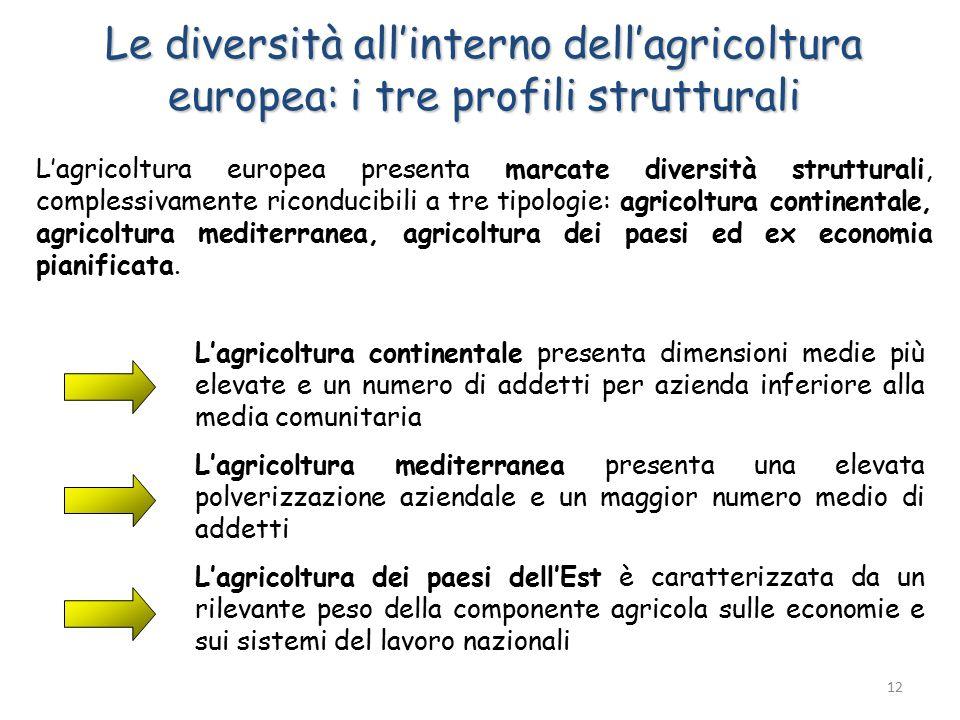 Le diversità all'interno dell'agricoltura europea: i tre profili strutturali L'agricoltura europea presenta marcate diversità strutturali, complessivamente riconducibili a tre tipologie: agricoltura continentale, agricoltura mediterranea, agricoltura dei paesi ed ex economia pianificata.