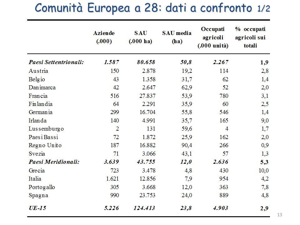 13 Comunità Europea a 28: dati a confronto 1/2