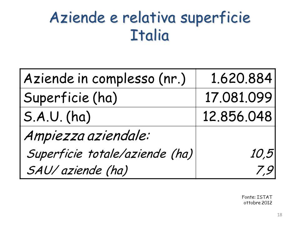 Aziende e relativa superficie Italia Aziende in complesso (nr.)1.620.884 Superficie (ha)17.081.099 S.A.U.