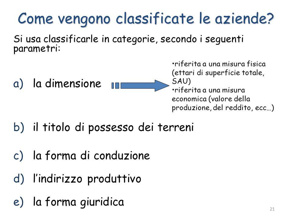 Si usa classificarle in categorie, secondo i seguenti parametri: a)la dimensione b)il titolo di possesso dei terreni c)la forma di conduzione d)l'indirizzo produttivo e)la forma giuridica Come vengono classificate le aziende.