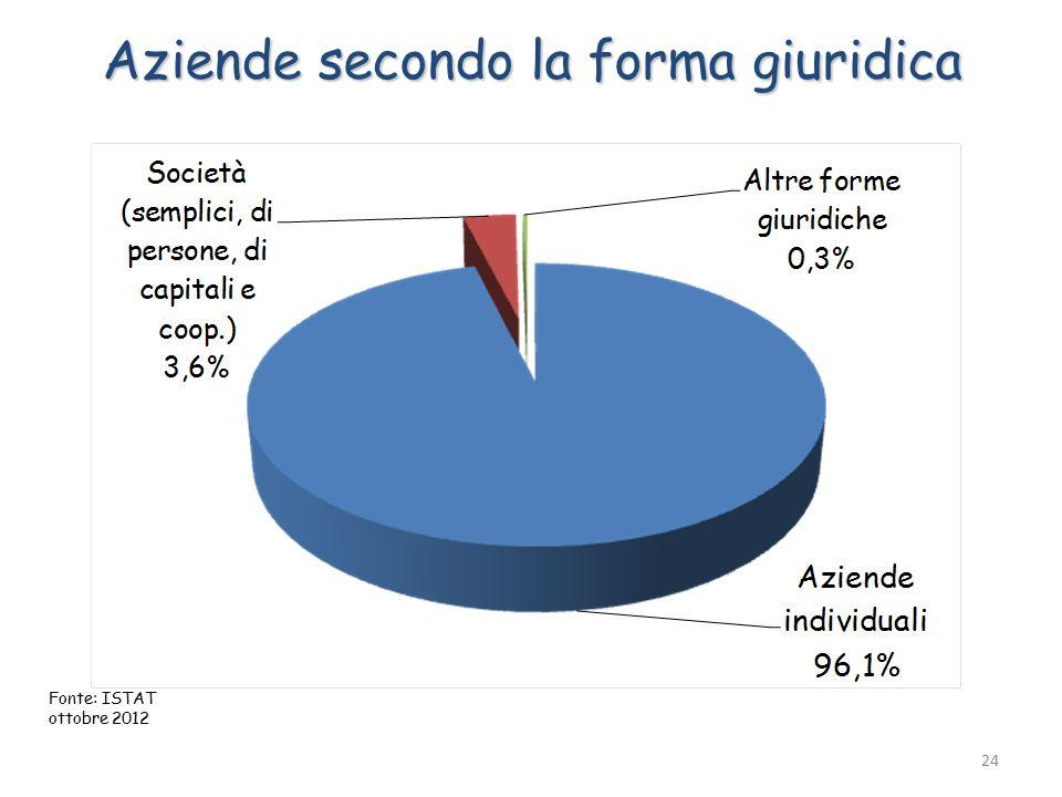 Aziende secondo la forma giuridica 24 Fonte: ISTAT ottobre 2012