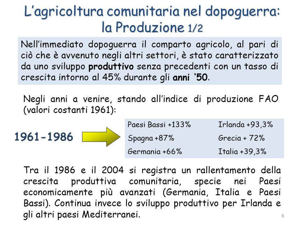 L'agricoltura comunitaria nel dopoguerra: la Produzione 1/2 Nell'immediato dopoguerra il comparto agricolo, al pari di ciò che è avvenuto negli altri settori, è stato caratterizzato da uno sviluppo produttivo senza precedenti con un tasso di crescita intorno al 45% durante gli anni '50.