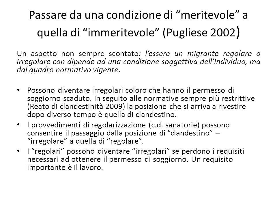 """Passare da una condizione di """"meritevole"""" a quella di """"immeritevole"""" (Pugliese 2002 ) Un aspetto non sempre scontato: l'essere un migrante regolare o"""