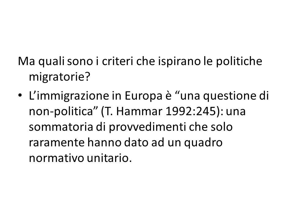 """Ma quali sono i criteri che ispirano le politiche migratorie? L'immigrazione in Europa è """"una questione di non-politica"""" (T. Hammar 1992:245): una som"""