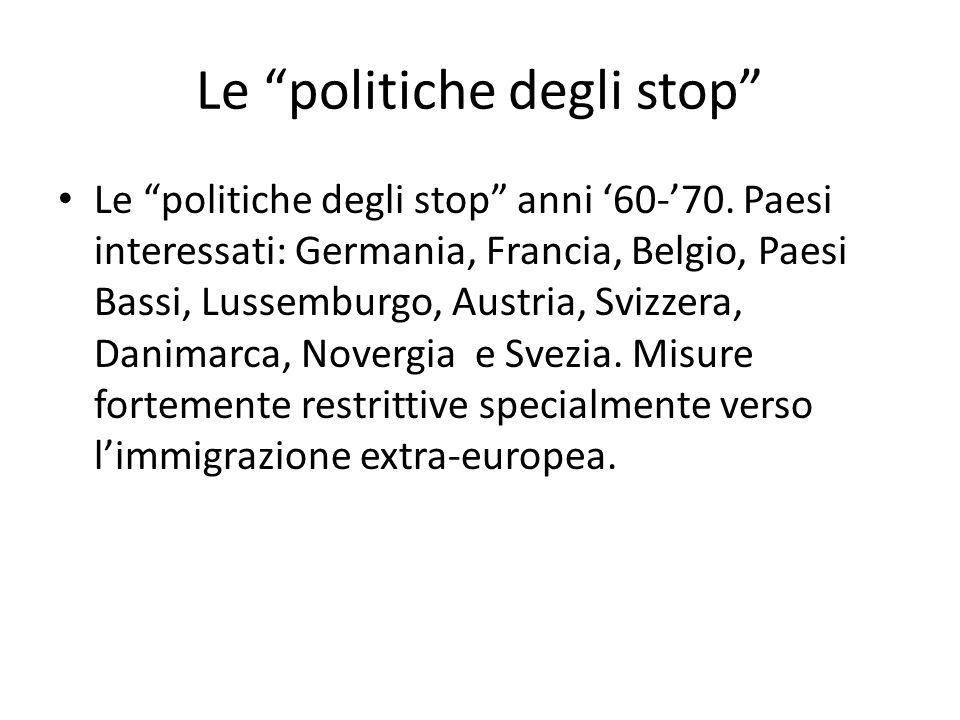 """Le """"politiche degli stop"""" Le """"politiche degli stop"""" anni '60-'70. Paesi interessati: Germania, Francia, Belgio, Paesi Bassi, Lussemburgo, Austria, Svi"""