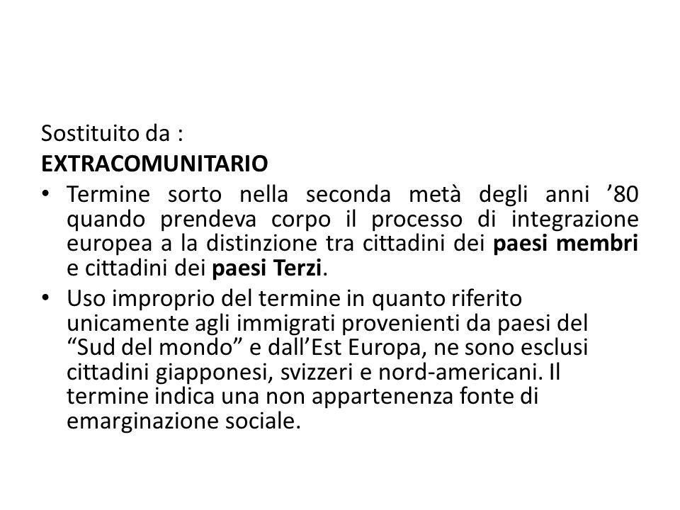 Sostituito da : EXTRACOMUNITARIO Termine sorto nella seconda metà degli anni '80 quando prendeva corpo il processo di integrazione europea a la distin
