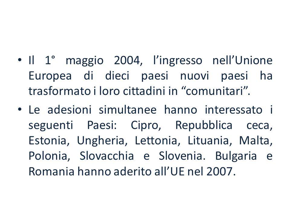 """Il 1° maggio 2004, l'ingresso nell'Unione Europea di dieci paesi nuovi paesi ha trasformato i loro cittadini in """"comunitari"""". Le adesioni simultanee h"""