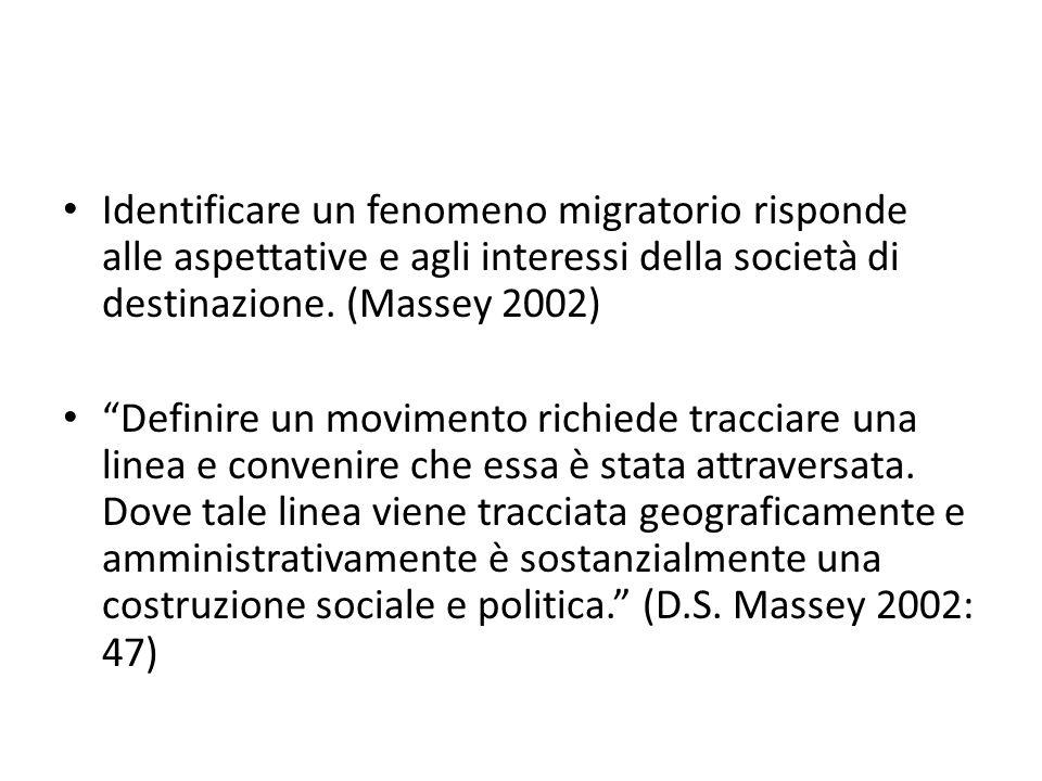 """Identificare un fenomeno migratorio risponde alle aspettative e agli interessi della società di destinazione. (Massey 2002) """"Definire un movimento ric"""