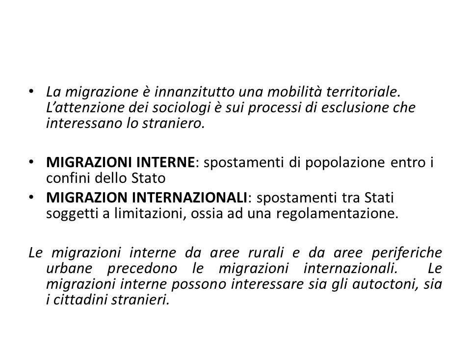 La migrazione è innanzitutto una mobilità territoriale. L'attenzione dei sociologi è sui processi di esclusione che interessano lo straniero. MIGRAZIO