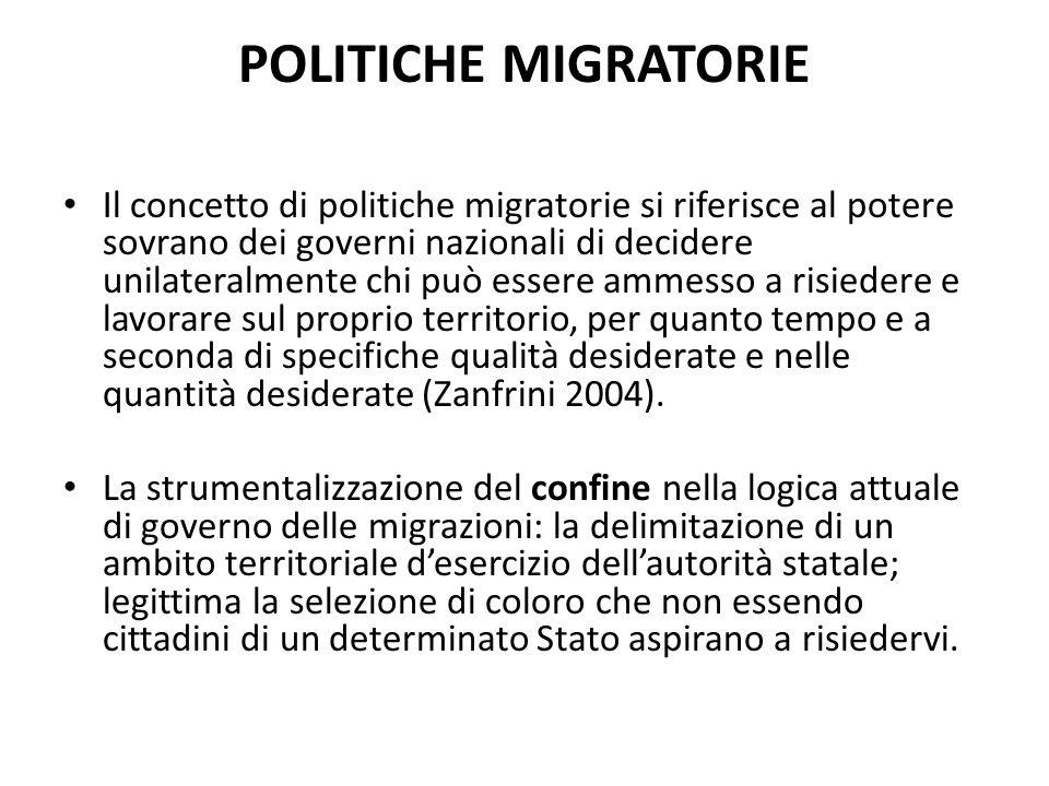 POLITICHE MIGRATORIE Il concetto di politiche migratorie si riferisce al potere sovrano dei governi nazionali di decidere unilateralmente chi può esse