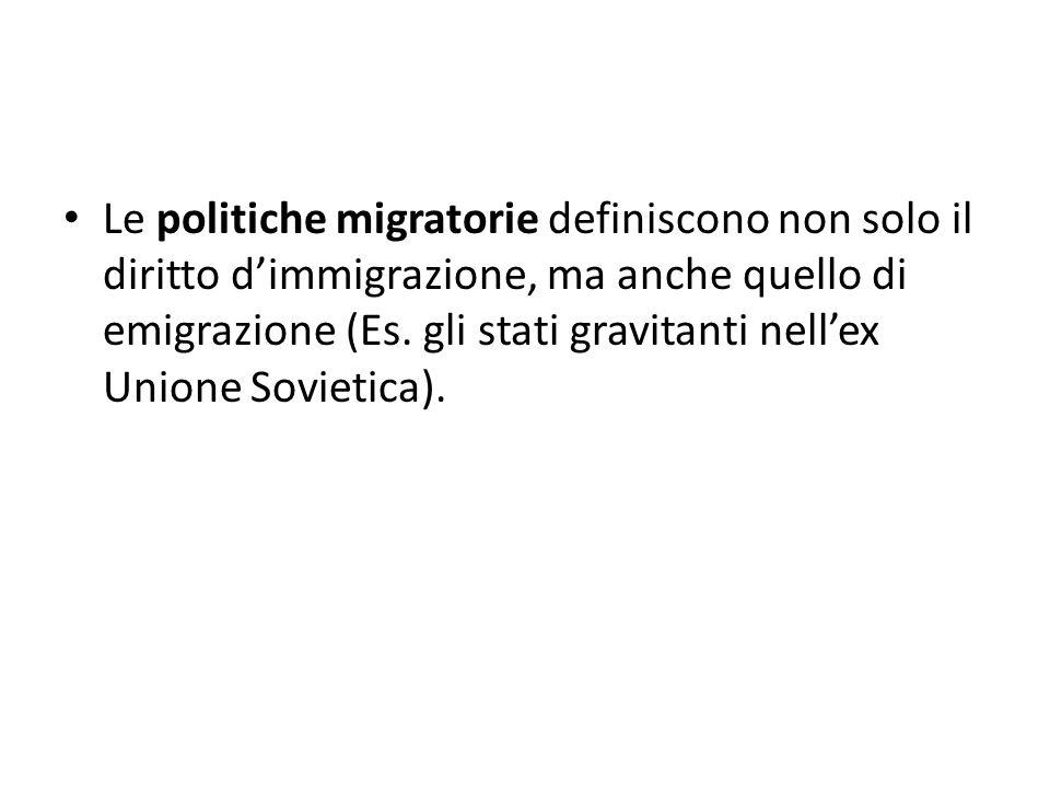 Le politiche migratorie definiscono non solo il diritto d'immigrazione, ma anche quello di emigrazione (Es. gli stati gravitanti nell'ex Unione Soviet
