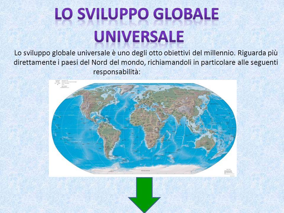 Lo sviluppo globale universale è uno degli otto obiettivi del millennio. Riguarda più direttamente i paesi del Nord del mondo, richiamandoli in partic