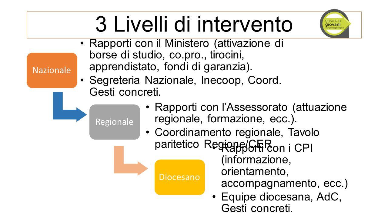 3 Livelli di intervento Nazionale Rapporti con il Ministero (attivazione di borse di studio, co.pro., tirocini, apprendistato, fondi di garanzia). Seg