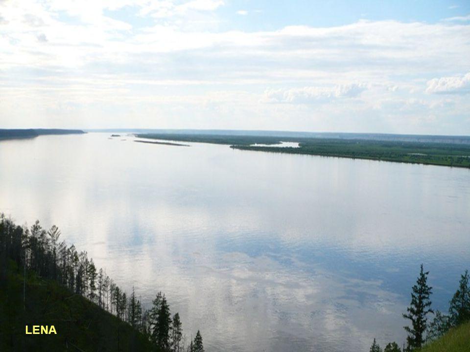 9° - LENA Lunghezza: 4400 km - Portata media: 17000 (metri cubi/sec) - Sorgente: Alture del Bajkal 930 mt.