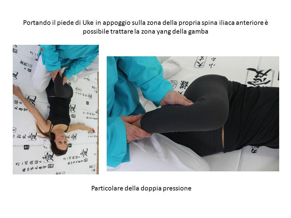 Portando il piede di Uke in appoggio sulla zona della propria spina iliaca anteriore è possibile trattare la zona yang della gamba Particolare della d