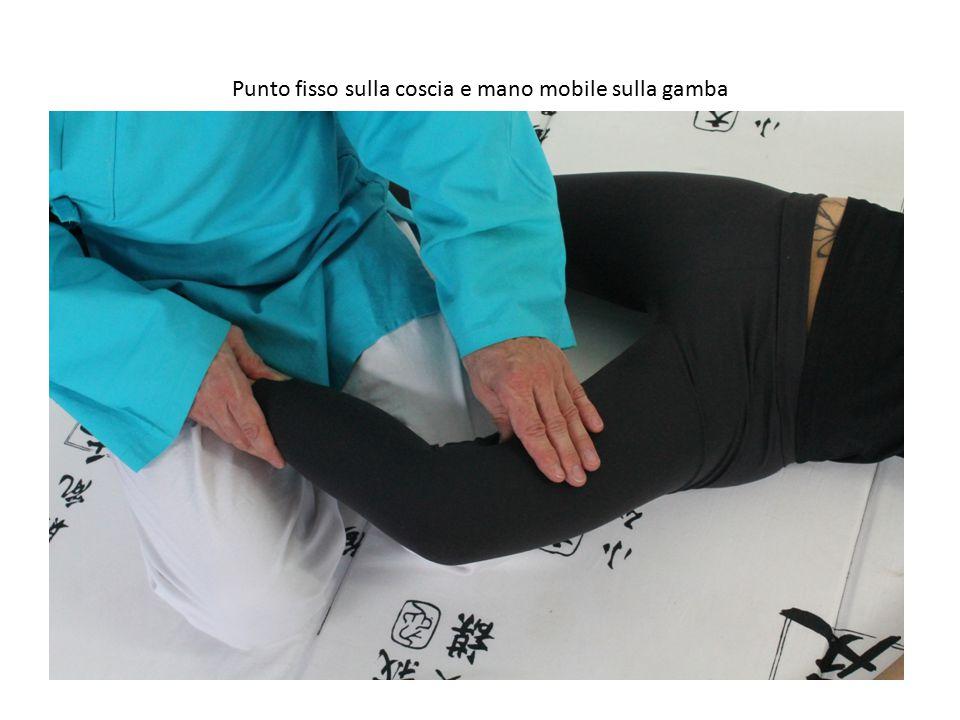 Punto fisso sulla coscia e mano mobile sulla gamba