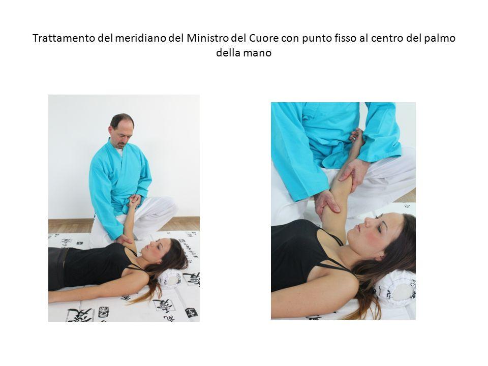 Trattamento del meridiano del Ministro del Cuore con punto fisso al centro del palmo della mano