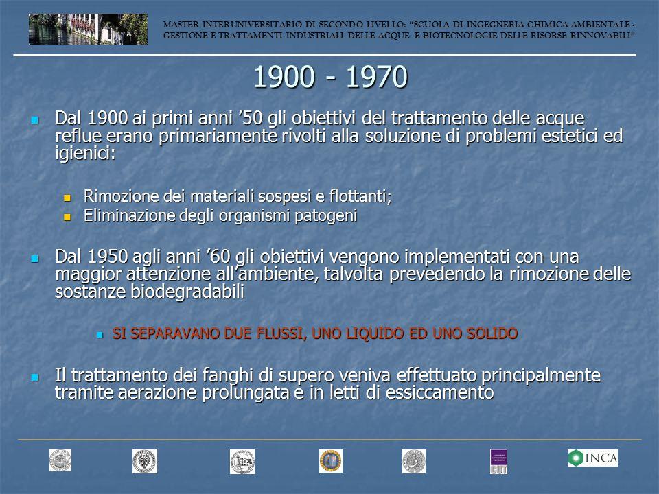 Processo UCT modificato MASTER INTERUNIVERSITARIO DI SECONDO LIVELLO: SCUOLA DI INGEGNERIA CHIMICA AMBIENTALE - GESTIONE E TRATTAMENTI INDUSTRIALI DELLE ACQUE E BIOTECNOLOGIE DELLE RISORSE RINNOVABILI