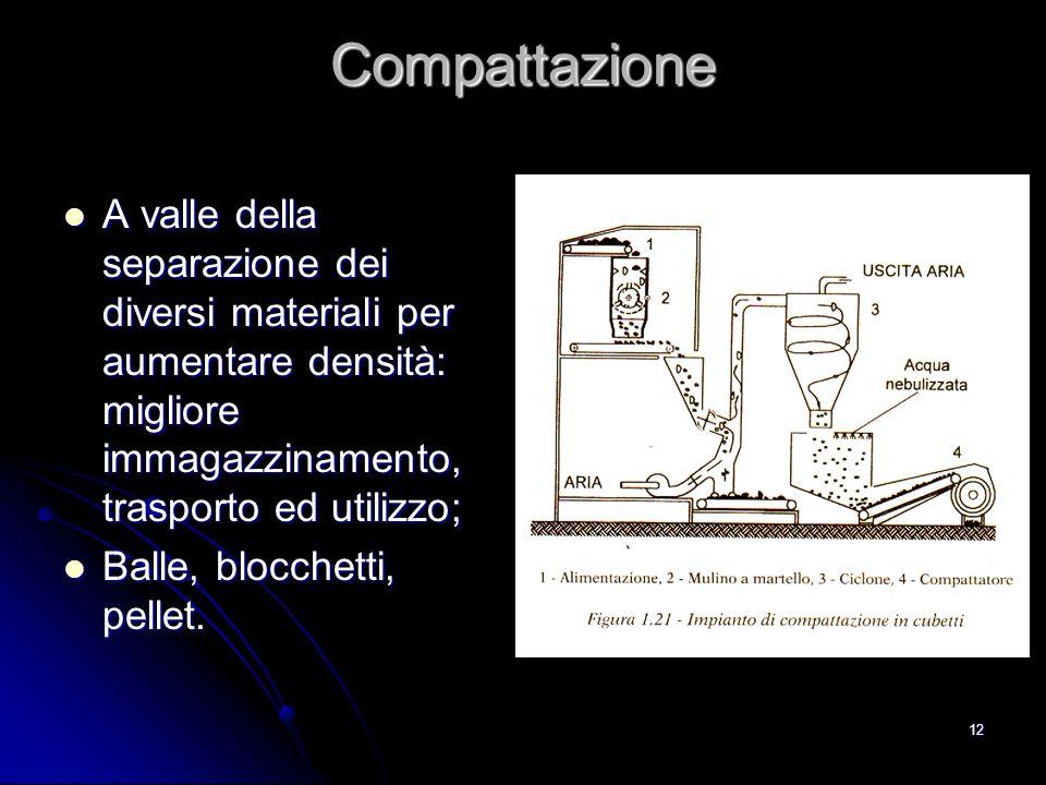 12 Compattazione A valle della separazione dei diversi materiali per aumentare densità: migliore immagazzinamento, trasporto ed utilizzo; A valle dell