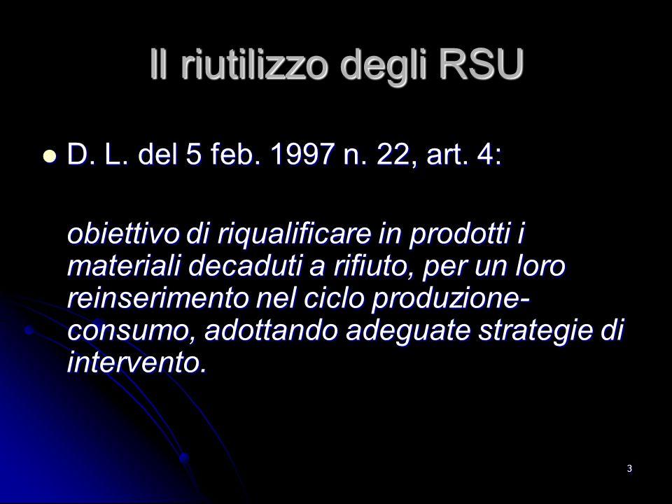3 Il riutilizzo degli RSU D. L. del 5 feb. 1997 n. 22, art. 4: D. L. del 5 feb. 1997 n. 22, art. 4: obiettivo di riqualificare in prodotti i materiali