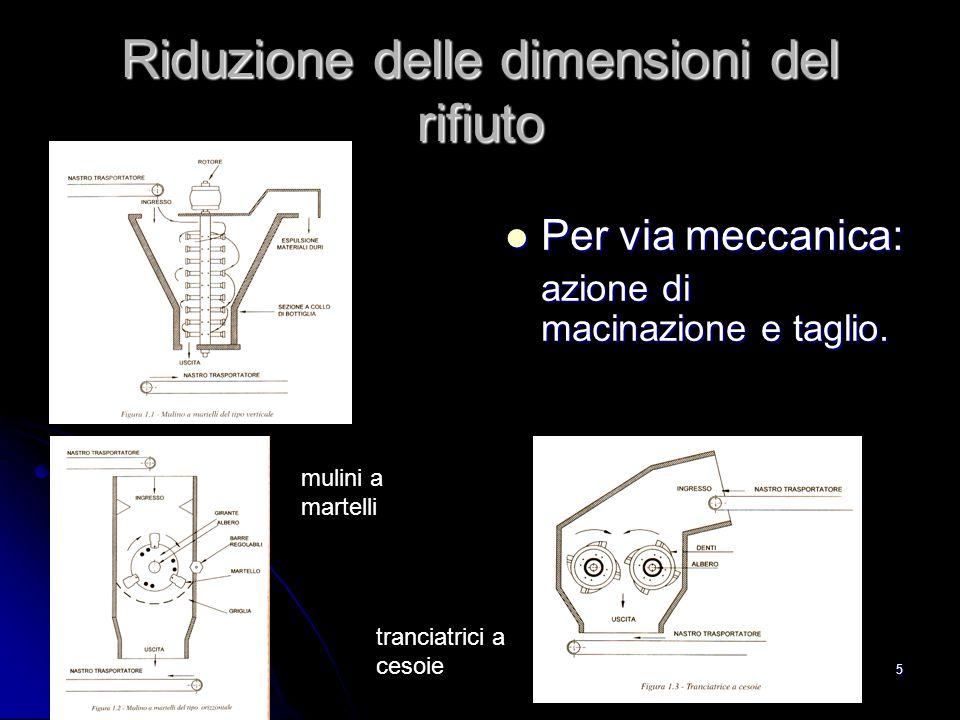 5 Riduzione delle dimensioni del rifiuto Per via meccanica: Per via meccanica: azione di macinazione e taglio. mulini a martelli tranciatrici a cesoie