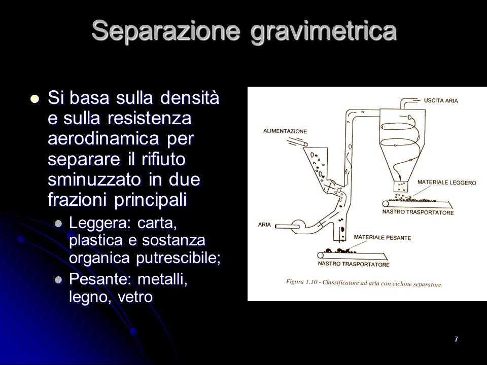 7 Separazione gravimetrica Si basa sulla densità e sulla resistenza aerodinamica per separare il rifiuto sminuzzato in due frazioni principali Si basa