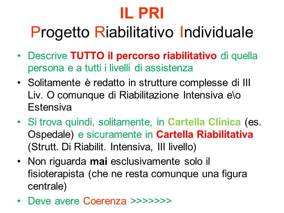 IL PRI Progetto Riabilitativo Individuale Descrive TUTTO il percorso riabilitativo di quella persona e a tutti i livelli di assistenza Solitamente è r