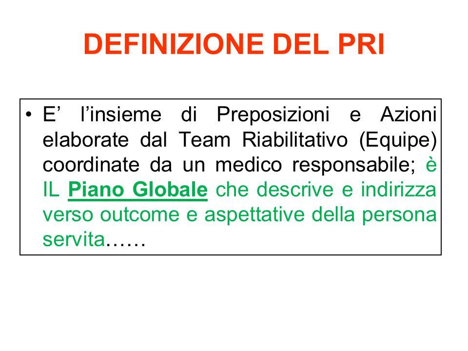 DEFINIZIONE DEL PRI E' l'insieme di Preposizioni e Azioni elaborate dal Team Riabilitativo (Equipe) coordinate da un medico responsabile; è IL Piano G