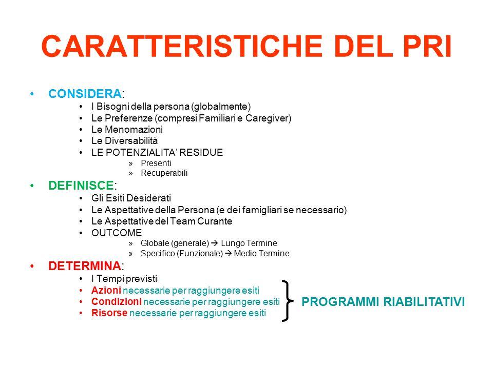CARATTERISTICHE DEL PRI CONSIDERA: I Bisogni della persona (globalmente) Le Preferenze (compresi Familiari e Caregiver) Le Menomazioni Le Diversabilit