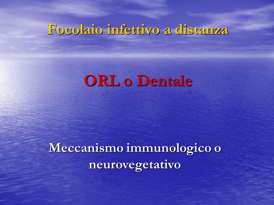 Focolaio infettivo a distanza Meccanismo immunologico o neurovegetativo ORL o Dentale