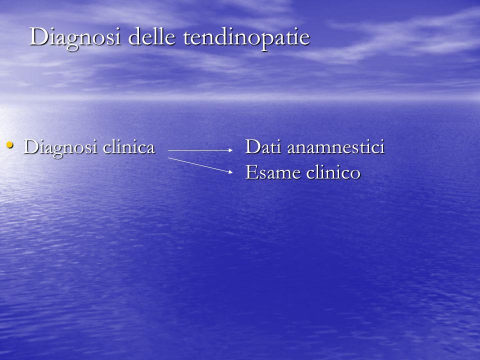 Diagnosi delle tendinopatie Diagnosi clinica Dati anamnestici Esame clinico Diagnosi clinica Dati anamnestici Esame clinico