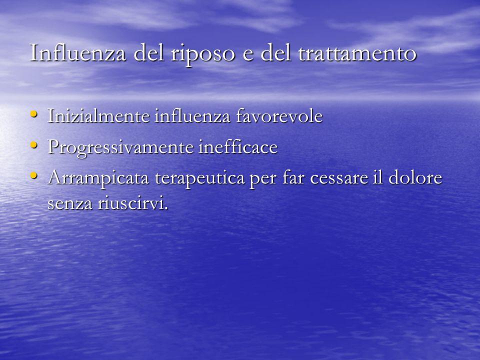 Influenza del riposo e del trattamento Inizialmente influenza favorevole Inizialmente influenza favorevole Progressivamente inefficace Progressivament