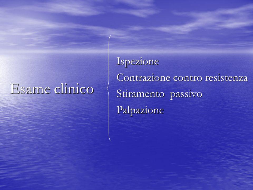 Esame clinico Ispezione Ispezione Contrazione contro resistenza Contrazione contro resistenza Stiramento passivo Stiramento passivo Palpazione Palpazione