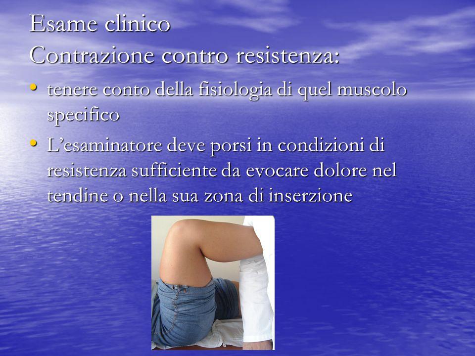 Esame clinico Contrazione contro resistenza: tenere conto della fisiologia di quel muscolo specifico tenere conto della fisiologia di quel muscolo spe