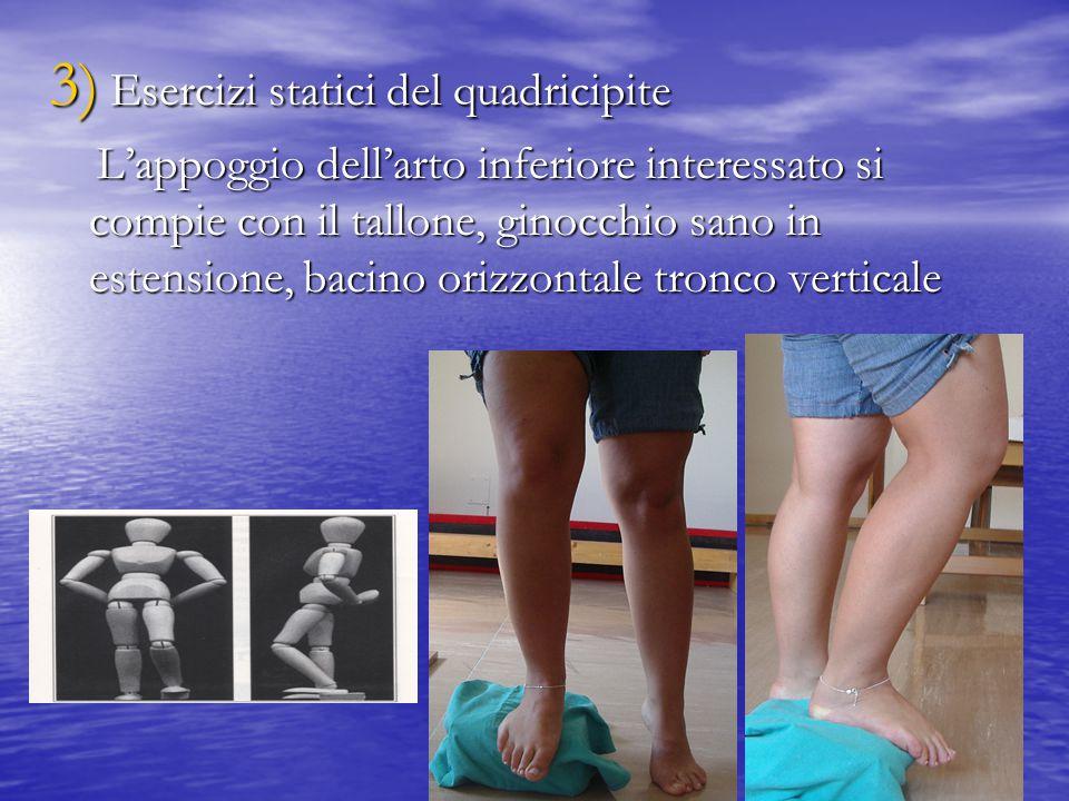 3) Esercizi statici del quadricipite L'appoggio dell'arto inferiore interessato si compie con il tallone, ginocchio sano in estensione, bacino orizzon