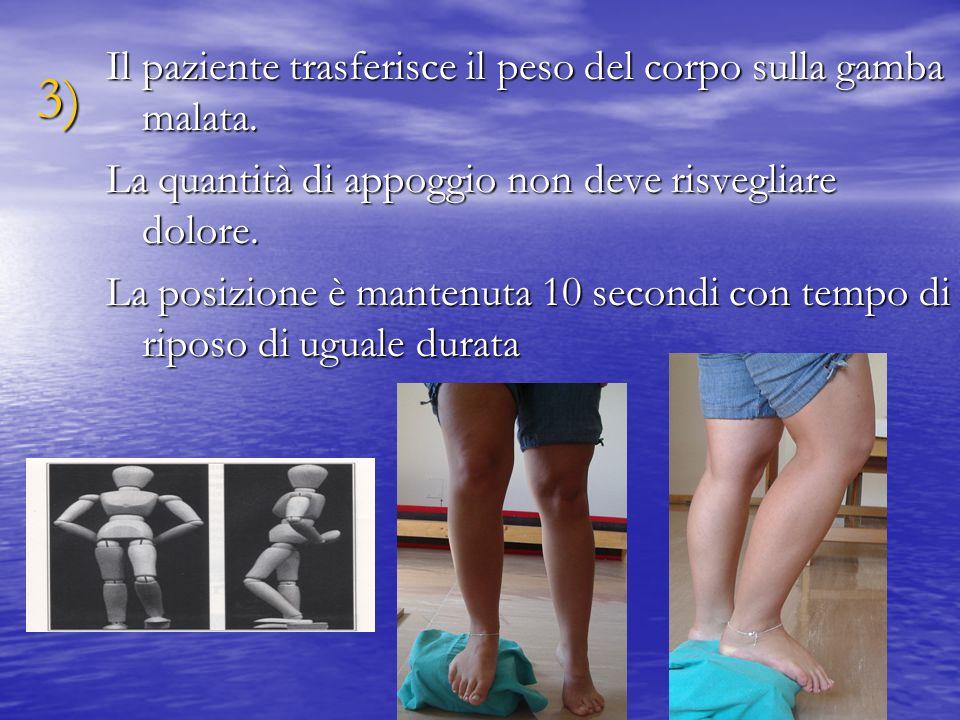 Il paziente trasferisce il peso del corpo sulla gamba malata.