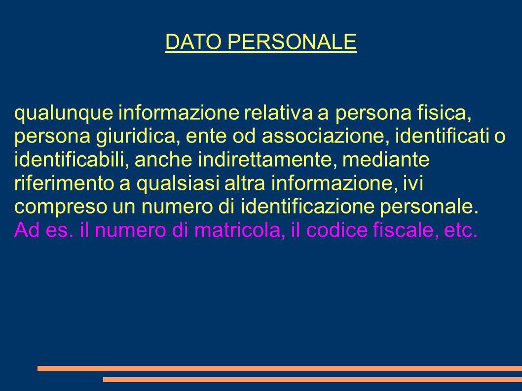 DATO PERSONALE qualunque informazione relativa a persona fisica, persona giuridica, ente od associazione, identificati o identificabili, anche indirettamente, mediante riferimento a qualsiasi altra informazione, ivi compreso un numero di identificazione personale.