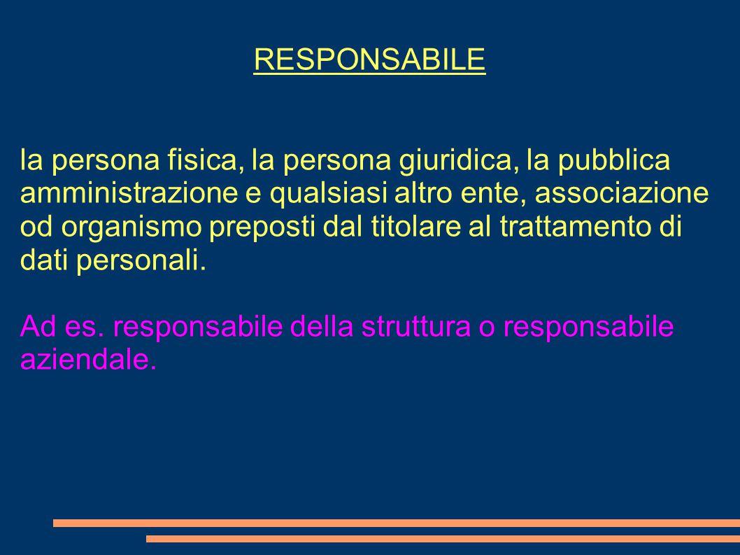 RESPONSABILE la persona fisica, la persona giuridica, la pubblica amministrazione e qualsiasi altro ente, associazione od organismo preposti dal titolare al trattamento di dati personali.