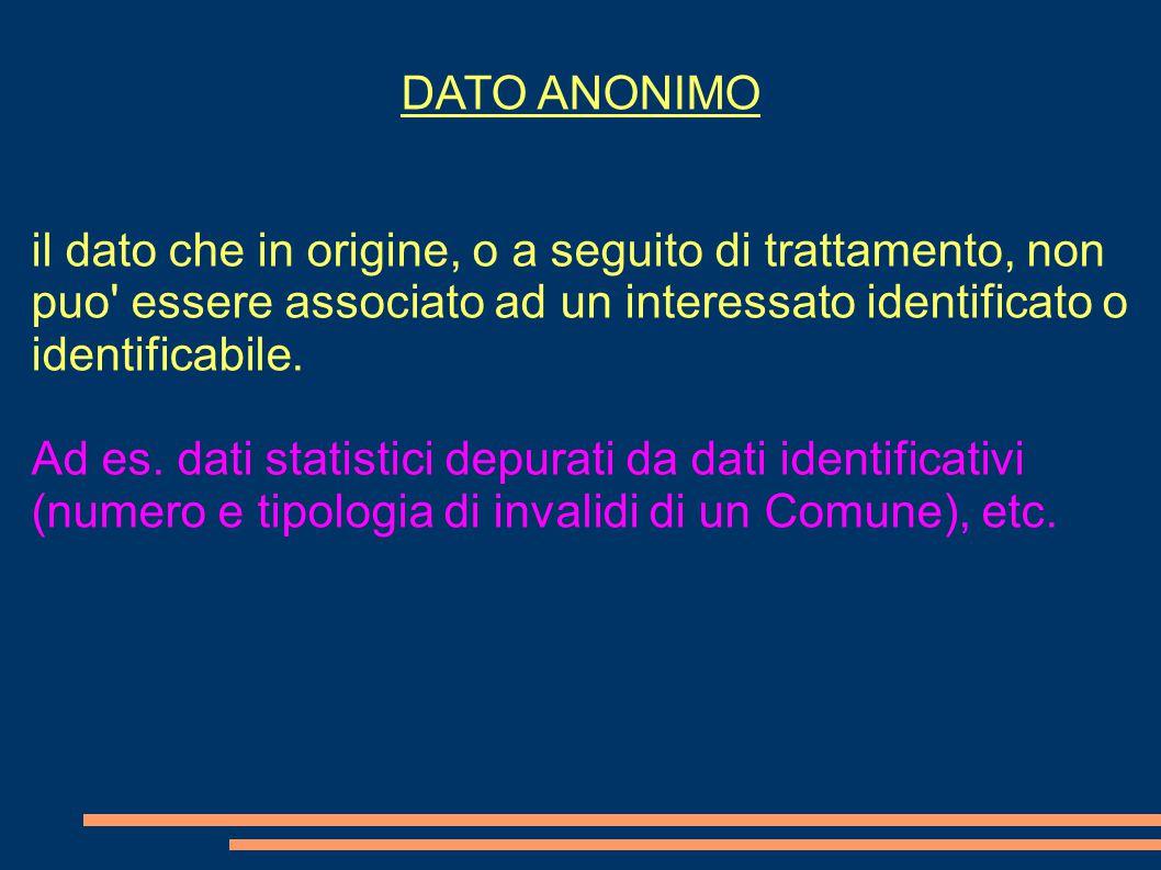 DATO ANONIMO il dato che in origine, o a seguito di trattamento, non puo' essere associato ad un interessato identificato o identificabile. Ad es. dat