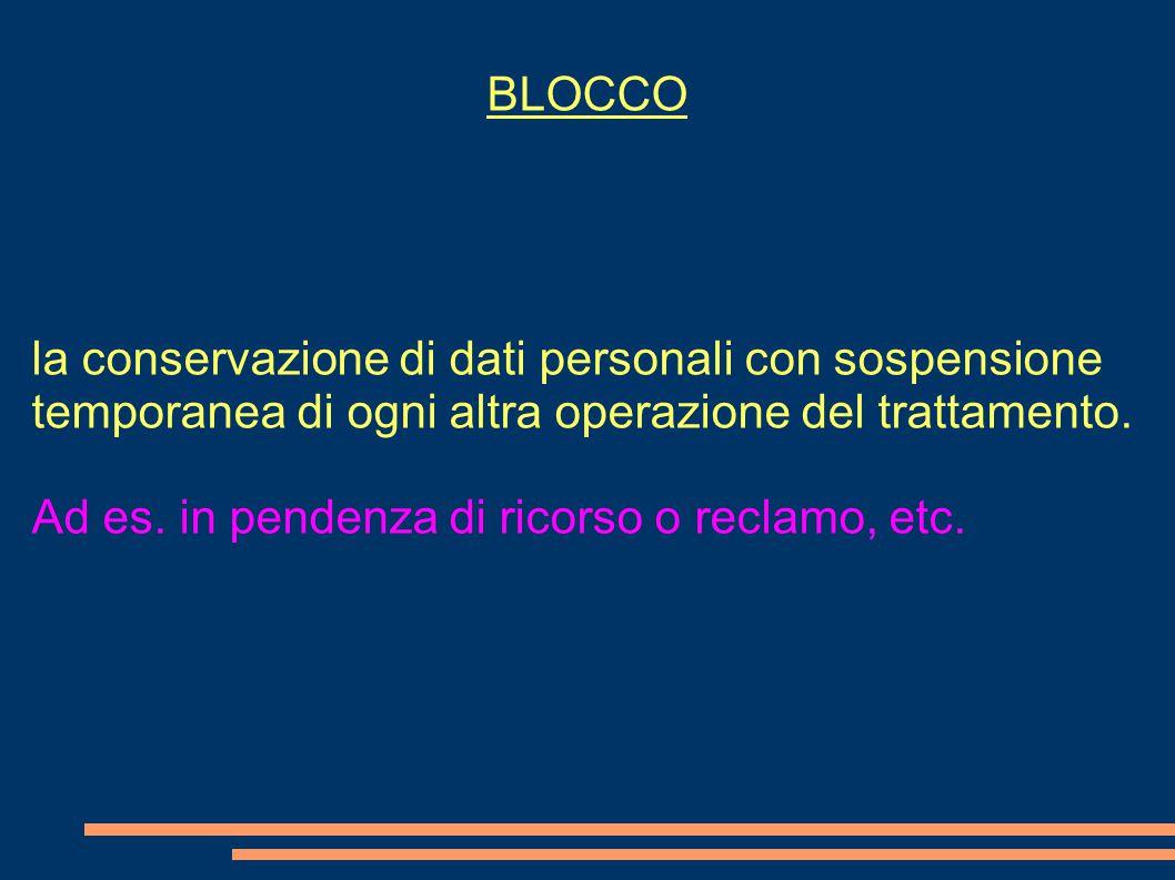 BLOCCO la conservazione di dati personali con sospensione temporanea di ogni altra operazione del trattamento.