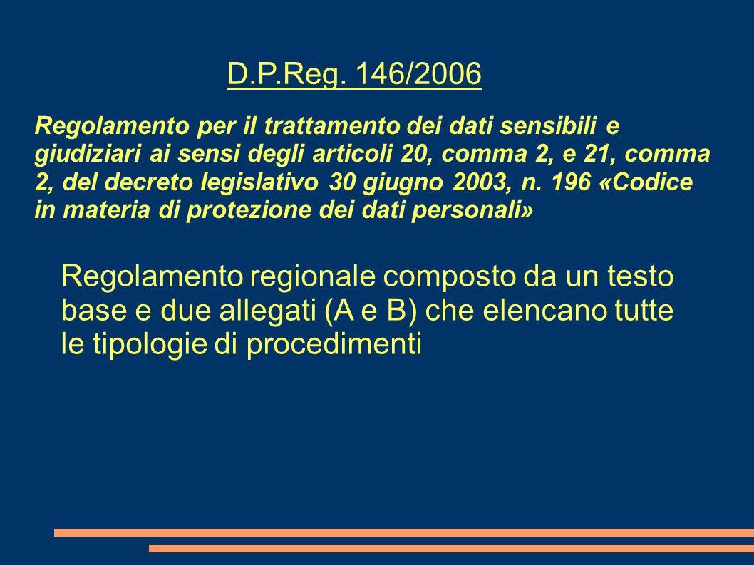 Regolamento per il trattamento dei dati sensibili e giudiziari ai sensi degli articoli 20, comma 2, e 21, comma 2, del decreto legislativo 30 giugno 2003, n.
