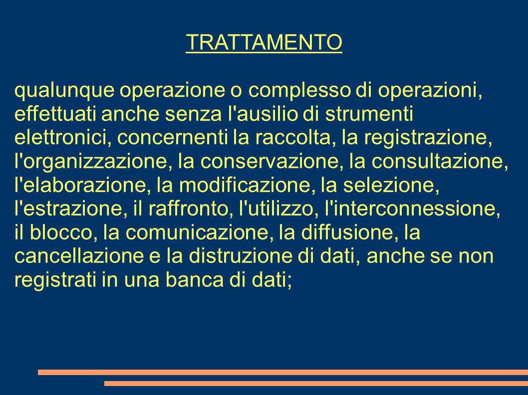 TRATTAMENTO qualunque operazione o complesso di operazioni, effettuati anche senza l'ausilio di strumenti elettronici, concernenti la raccolta, la reg