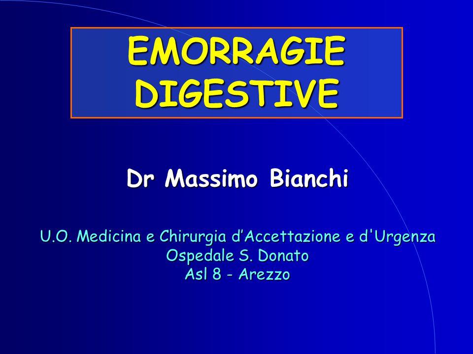 Chirurgia d'Urgenza-Prof.O.Campione Emorragie Digestive EMORRAGIE DIGESTIVE - TRATTAMENTO TERAPIA RADIOLOGICA INFUSIONE SELETTIVA INFUSIONE SELETTIVA Farmaci che inducono una riduzione del flusso splancnico (vasopressina) EMBOLIZZAZIONE SELETTIVA EMBOLIZZAZIONE SELETTIVA