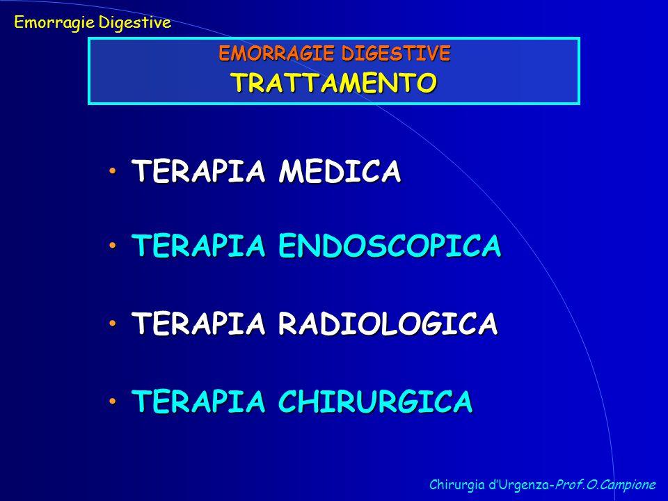 Chirurgia d'Urgenza-Prof.O.Campione Emorragie Digestive EMORRAGIE DIGESTIVE TRATTAMENTO TERAPIA MEDICA TERAPIA MEDICA TERAPIA ENDOSCOPICA TERAPIA ENDOSCOPICA TERAPIA RADIOLOGICA TERAPIA RADIOLOGICA TERAPIA CHIRURGICA TERAPIA CHIRURGICA