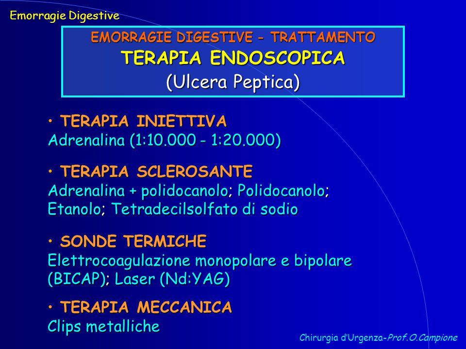 Chirurgia d'Urgenza-Prof.O.Campione Emorragie Digestive EMORRAGIE DIGESTIVE - TRATTAMENTO TERAPIA ENDOSCOPICA (Ulcera Peptica) TERAPIA INIETTIVA TERAPIA INIETTIVA Adrenalina (1:10.000 - 1:20.000) TERAPIA SCLEROSANTE TERAPIA SCLEROSANTE Adrenalina + polidocanolo; Polidocanolo; Etanolo; Tetradecilsolfato di sodio SONDE TERMICHE SONDE TERMICHE Elettrocoagulazione monopolare e bipolare (BICAP); Laser (Nd:YAG) TERAPIA MECCANICA TERAPIA MECCANICA Clips metalliche