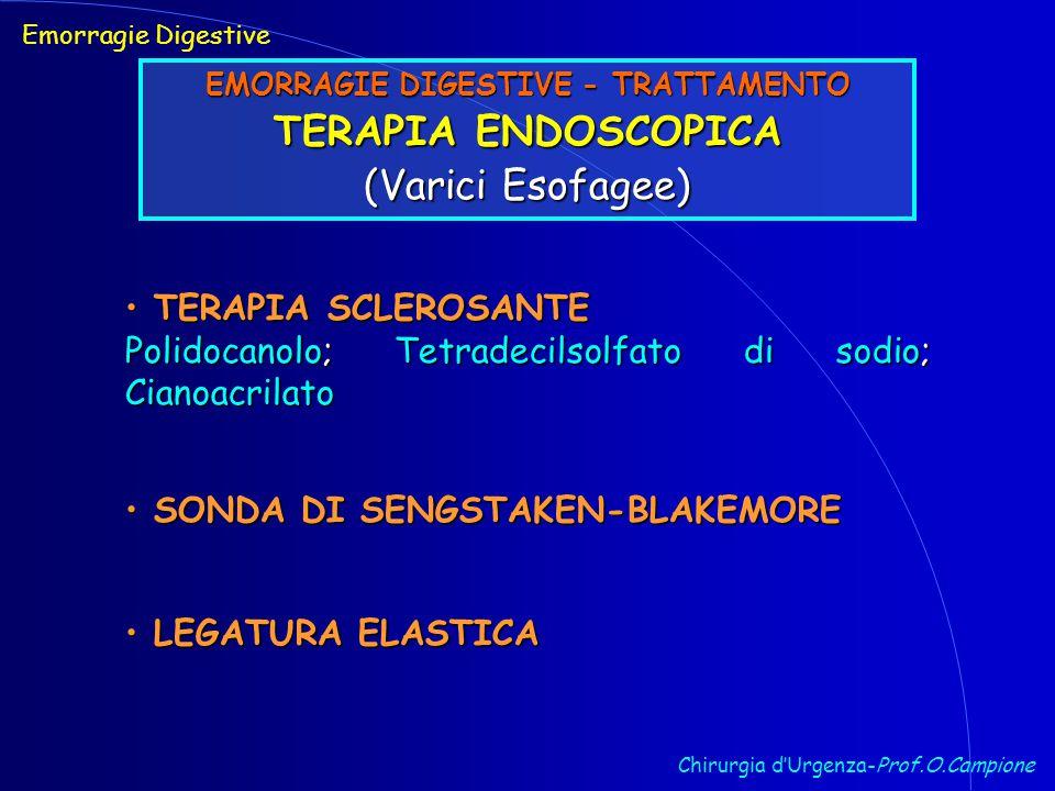 Chirurgia d'Urgenza-Prof.O.Campione Emorragie Digestive EMORRAGIE DIGESTIVE - TRATTAMENTO TERAPIA ENDOSCOPICA (Varici Esofagee) TERAPIA SCLEROSANTE TERAPIA SCLEROSANTE Polidocanolo; Tetradecilsolfato di sodio; Cianoacrilato SONDA DI SENGSTAKEN-BLAKEMORE SONDA DI SENGSTAKEN-BLAKEMORE LEGATURA ELASTICA LEGATURA ELASTICA