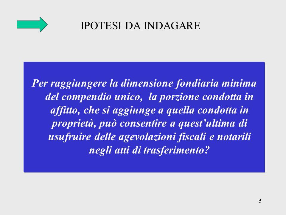 5 IPOTESI DA INDAGARE Per raggiungere la dimensione fondiaria minima del compendio unico, la porzione condotta in affitto, che si aggiunge a quella co