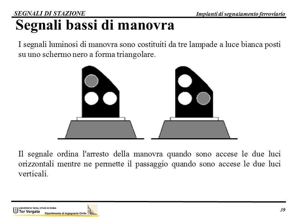 39 Impianti di segnalamento ferroviario SEGNALI DI STAZIONE Segnali bassi di manovra I segnali luminosi di manovra sono costituiti da tre lampade a lu
